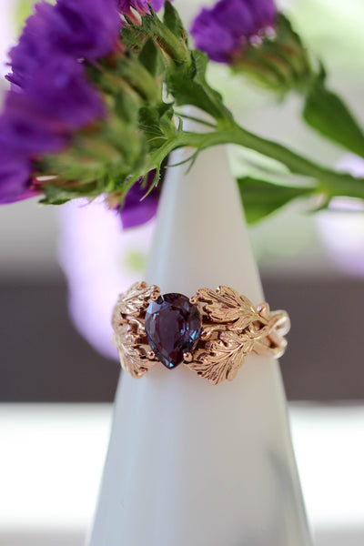 Maple leaves ring with pear cut alexandrite - Eden Garden Jewelry
