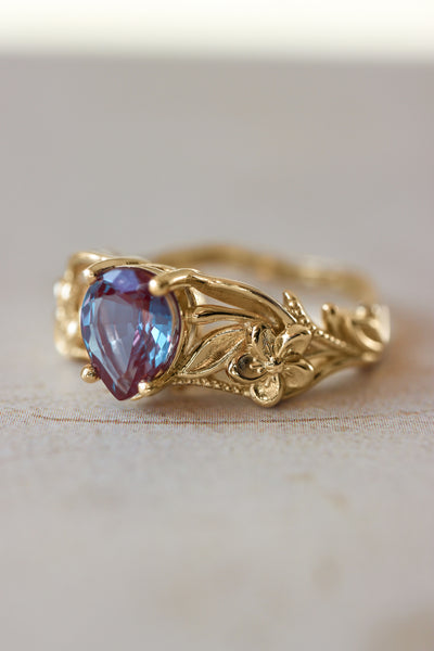 Alexandrite engagement ring, art nouveau ring / Eloise - Eden Garden Jewelry™