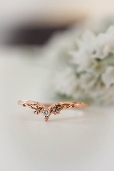 Ivy wedding band with diamond, matching ring for Ariadne - Eden Garden Jewelry™