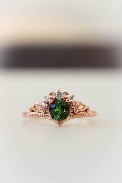 Bridal ring set with tourmaline and diamonds / Ariadne - Eden Garden Jewelry