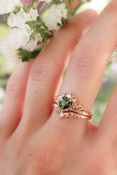 Bridal ring set with tourmaline and diamonds / Ariadne - Eden Garden Jewelry™