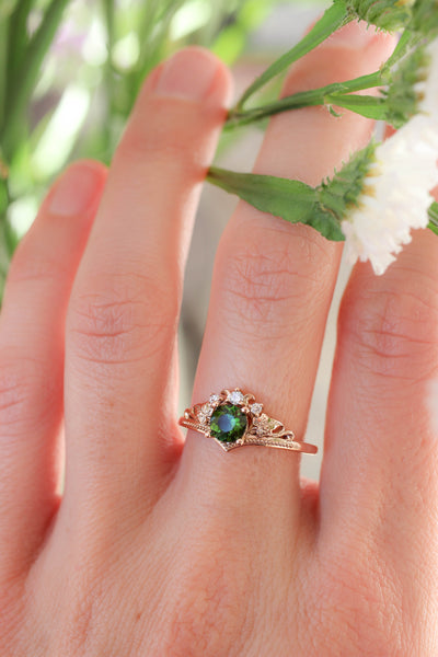 Green tourmaline and diamonds engagement ring / Ariadne - Eden Garden Jewelry
