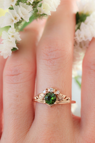 Green tourmaline and diamonds engagement ring / Ariadne - Eden Garden Jewelry™