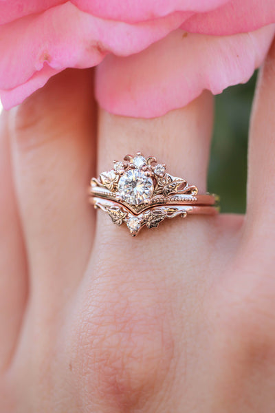 Moissanite bridal ring set, ivy leaves ring / Ariadne - Eden Garden Jewelry