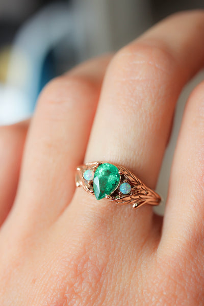 Custom order final payment: emerald and opals ring / Wisteria - Eden Garden Jewelry