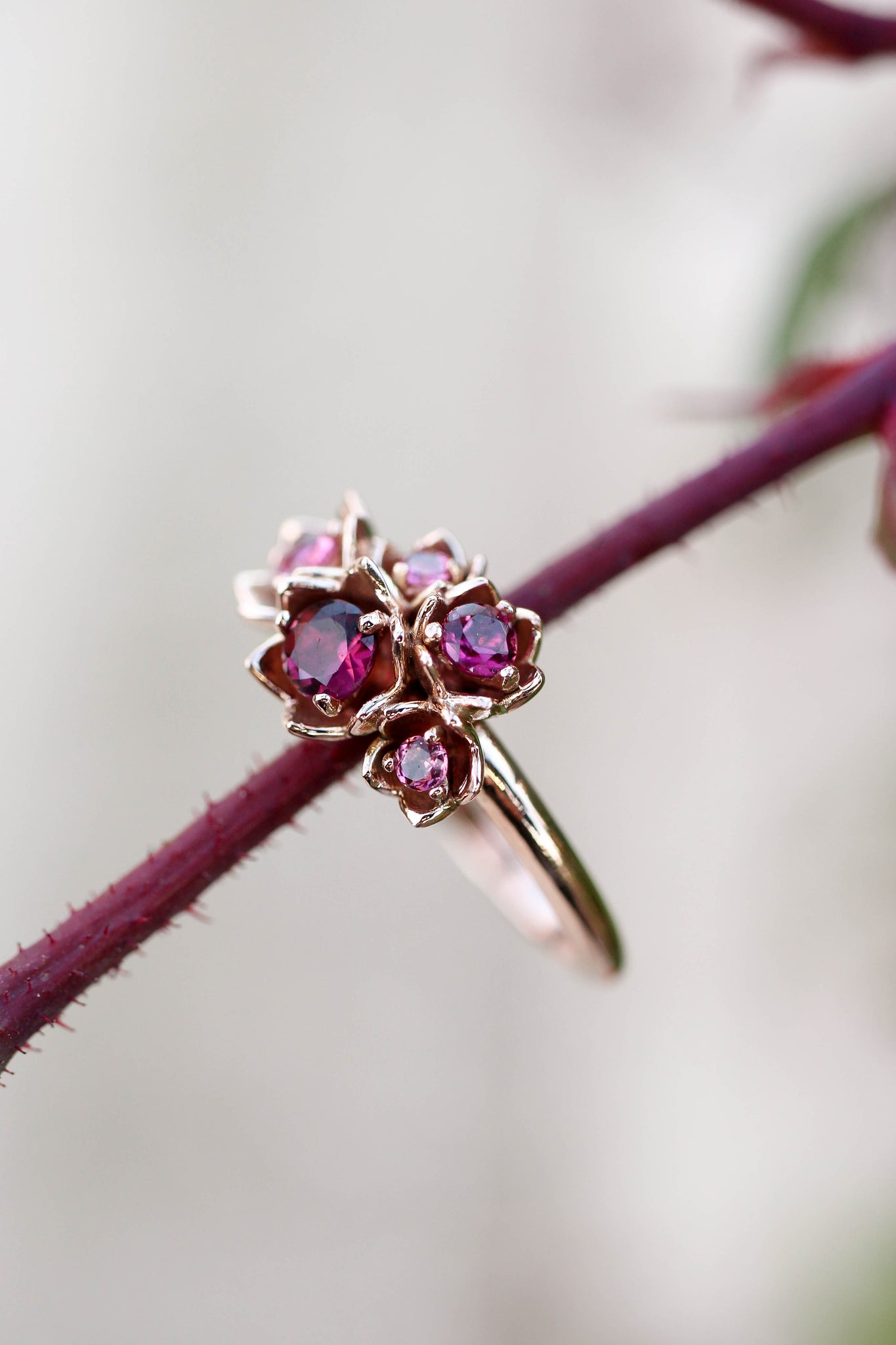 Lily of the valley ring with pink tourmalines - Eden Garden Jewelry