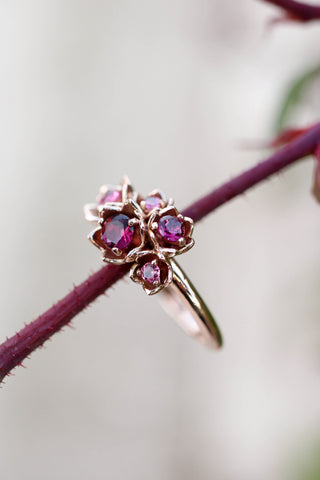 Lily of the valley ring with pink tourmalines - Eden Garden Jewelry™