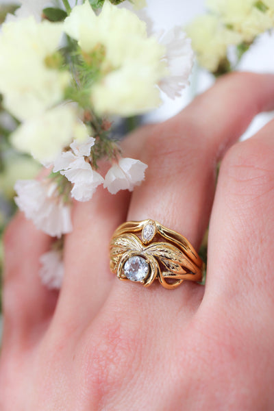 Aquamarine engagement ring, leaves ring / Aurelia - Eden Garden Jewelry
