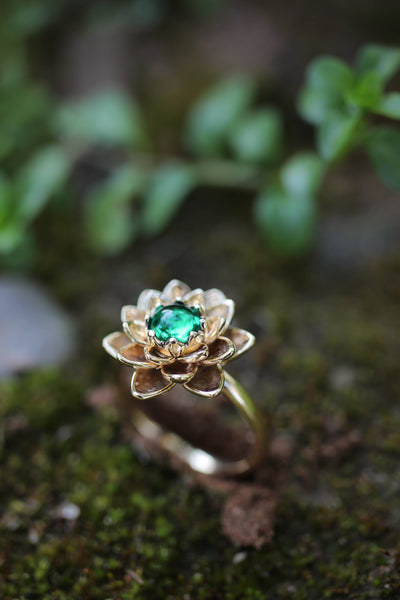 Payment plan for: Lotus ring with lab emerald - Eden Garden Jewelry