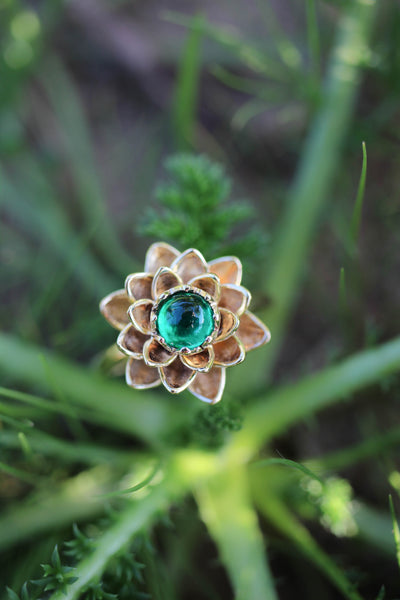 Payment plan for: Lotus ring with lab emerald - Eden Garden Jewelry™