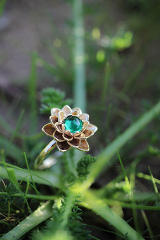 Lotus ring with lab emerald, flower engagement ring