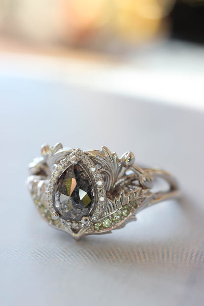 Custom order: Adonis engagement ring with salt and pepper diamond - Eden Garden Jewelry