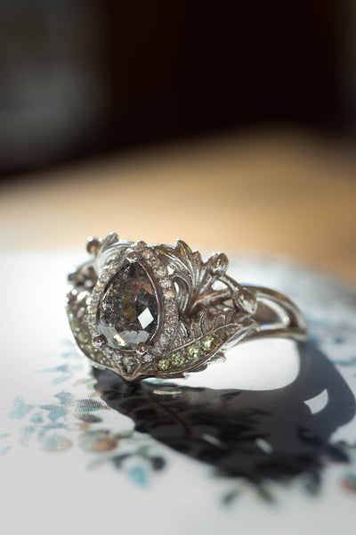 Custom order: Adonis engagement ring with salt and pepper diamond - Eden Garden Jewelry™