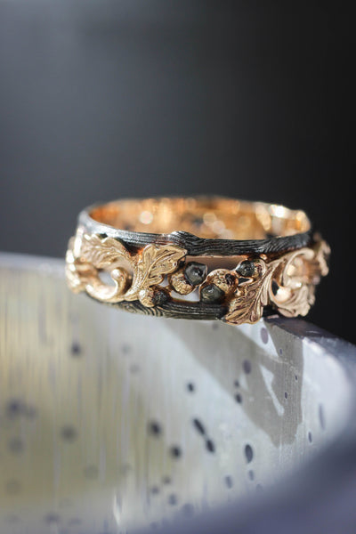 Black and gold oak ring, wedding band for him - Eden Garden Jewelry