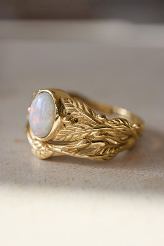 Wedding and engagement ring set with opal / Cornus and Twig