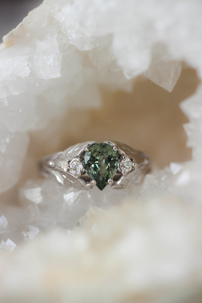 Green sapphire ring with diamonds, leaves engagement ring / Wisteria - Eden Garden Jewelry