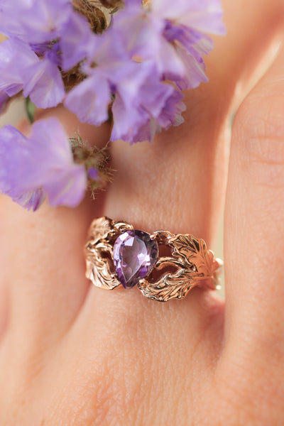 Oak leaves ring with pear cut amethyst - Eden Garden Jewelry