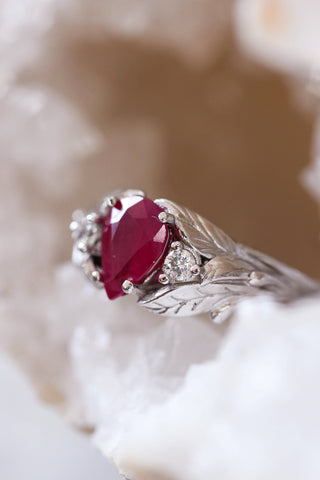 Natural ruby ring with diamonds, leaves engagement ring / Wisteria