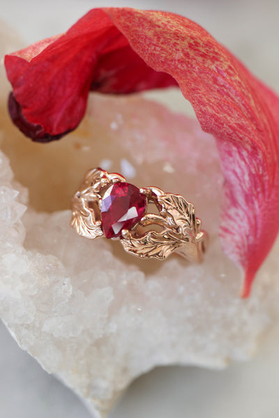 Natural ruby engagement ring, oak leaves ring - Eden Garden Jewelry