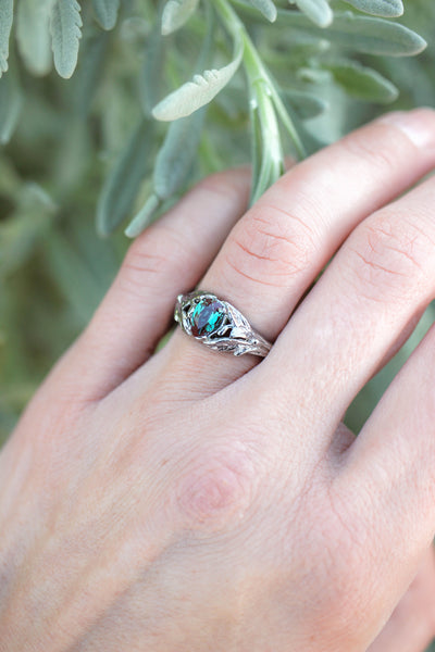 Pear alexandrite ring, gold leaves engagement ring / Wisteria