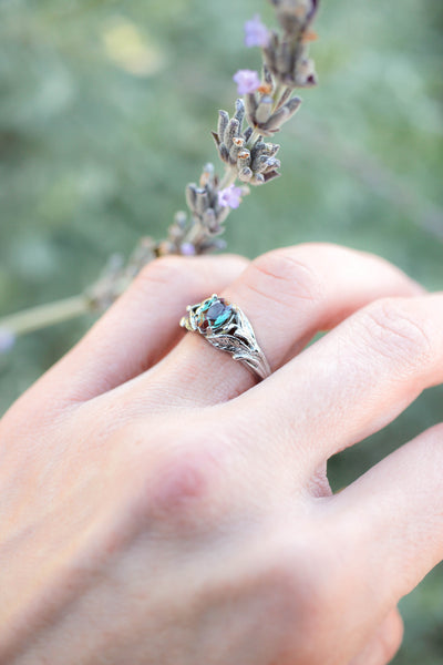 Pear alexandrite ring, gold leaves engagement ring / Wisteria - Eden Garden Jewelry