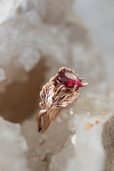 Natural ruby engagement ring, oak leaves ring - Eden Garden Jewelry™