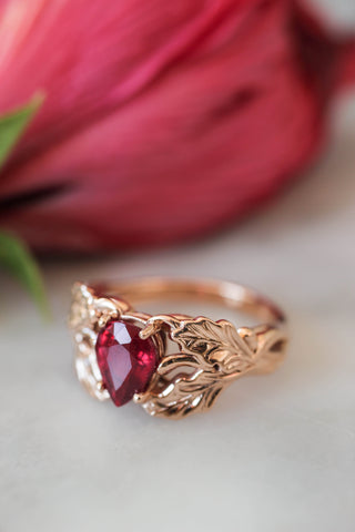 Natural ruby engagement ring, oak leaves ring