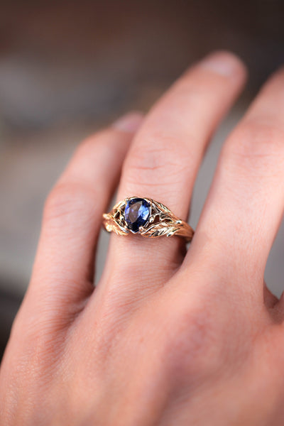 Blue lab sapphire ring, gold leaves engagement ring / Wisteria