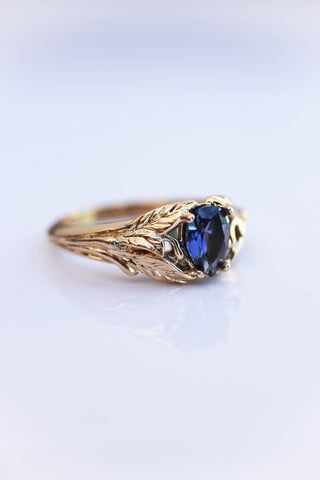 Blue lab sapphire ring, gold leaves engagement ring / Wisteria - Eden Garden Jewelry
