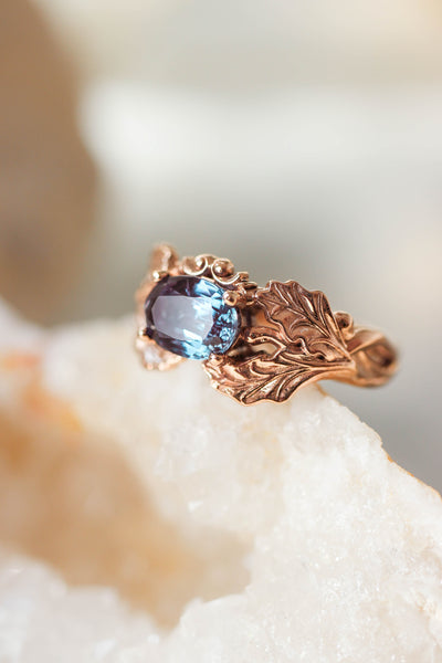 Oak leaves ring with oval alexandrite - Eden Garden Jewelry