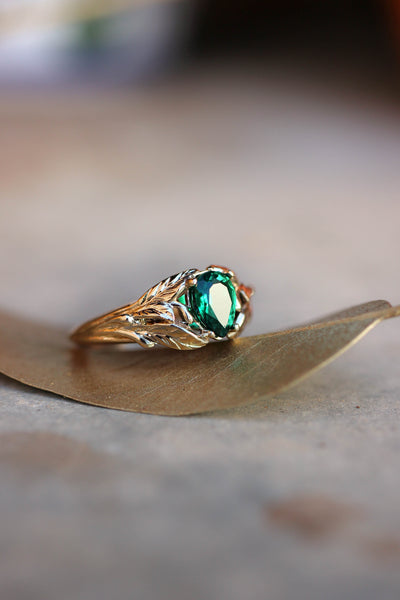 Pear cut emerald ring, leaves engagement ring / Wisteria - Eden Garden Jewelry