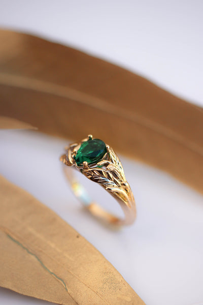 Lab emerald ring, engagement ring for woman / Wisteria - Eden Garden Jewelry