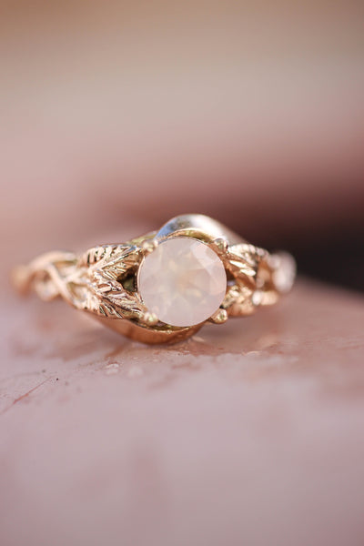 Rose quartz romantic engagement ring / Azalea - Eden Garden Jewelry