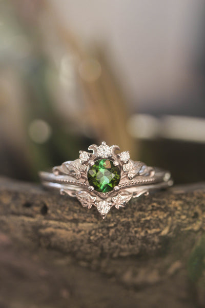 White gold ring set with tourmaline and diamonds / Ariadne - Eden Garden Jewelry™