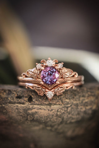 Bridal ring set with alexandrite and diamonds / Ariadne - Eden Garden Jewelry™