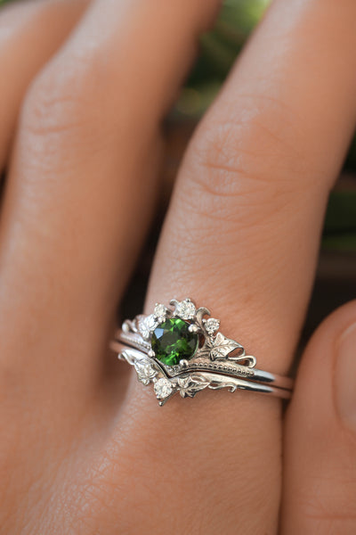 White gold ring set with tourmaline and diamonds / Ariadne - Eden Garden Jewelry