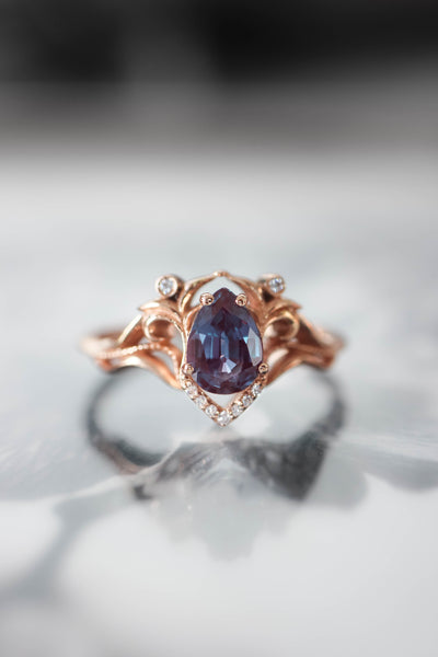 Custom: moissanite and diamonds engagement ring / Lida - Eden Garden Jewelry