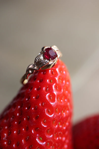 Ruby nature inspired engagement ring / Azalea - Eden Garden Jewelry