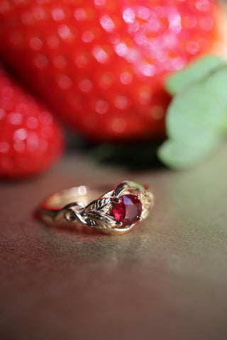 Ruby nature inspired engagement ring / Azalea - Eden Garden Jewelry™