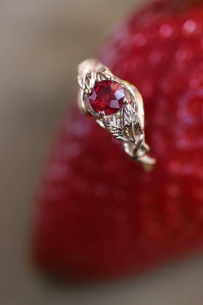 Ruby nature inspired engagement ring / Azalea