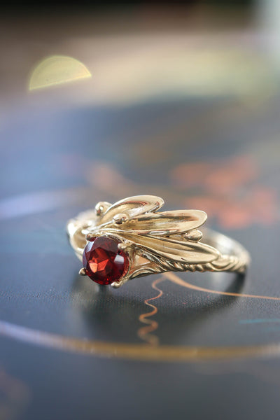 Olive branch ring with red garnet / Olivia - Eden Garden Jewelry