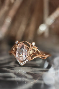 Morganite and diamonds engagement ring / Lida - Eden Garden Jewelry