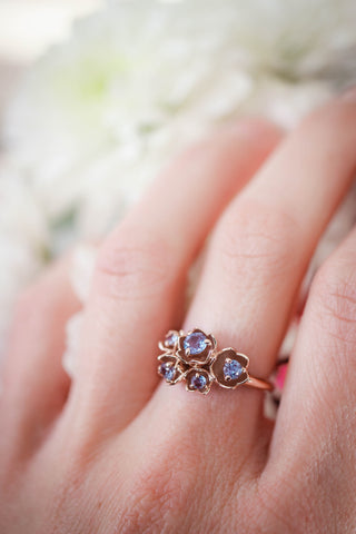 Lily of the valley ring with alexandrite - Eden Garden Jewelry