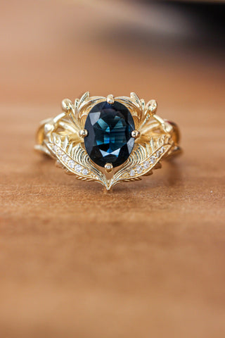 Blue sapphire and diamonds engagement ring / Adonis - Eden Garden Jewelry™