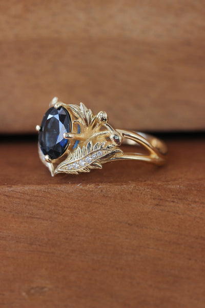Blue sapphire and diamonds engagement ring / Adonis - Eden Garden Jewelry