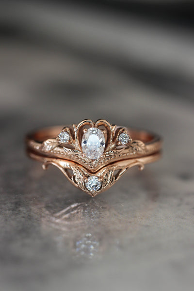 Bridal ring set with moissanite / Amura - Eden Garden Jewelry
