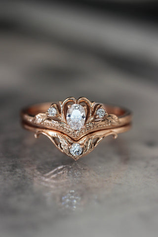 Bridal ring set with moissanite / Amura - Eden Garden Jewelry™