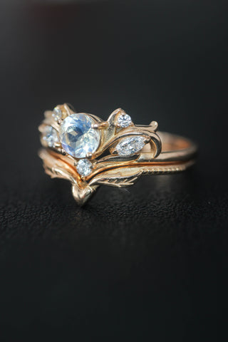 Bridal ring set with rainbow moonstone / Swanlake - Eden Garden Jewelry™