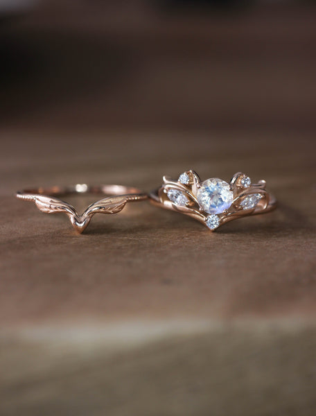 Moonstone and moissanites bridal ring set / Swanlake - Eden Garden Jewelry