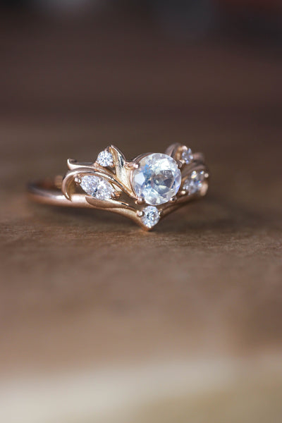 Bridal ring set with rainbow moonstone / Swanlake - Eden Garden Jewelry